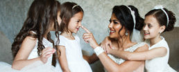 Beautiful Bride With Flower Girls